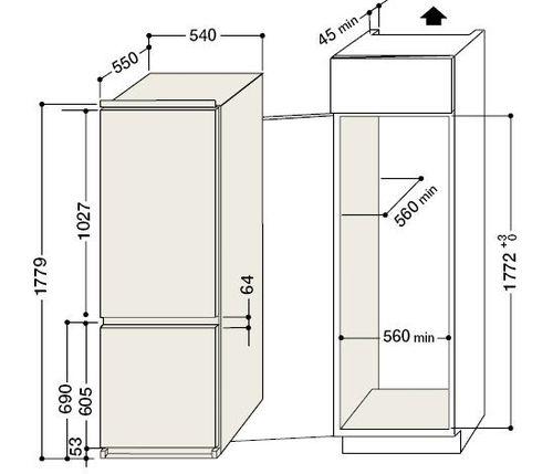 стандартная глубина холодильника 40 45 50 55 60 см