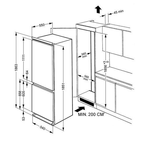 стандартная ширина холодильника 45 50 55 70 см модели бош Lg
